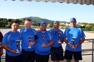 Frédéric ESCOFFIER, Stéphane CHAPUS, Audenis CLAIR, Mathieu DELLONG et David ROUJOL (secteur d'Annonay)  sont champions de l'Ardèche.