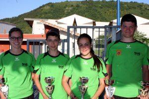 Olivia FOUR, Dylan JEAN, Gaël MAIRE et Chloé POINARD (CFB de Saint Victor) sont vices champions de l'Ardèche.