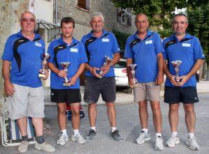 Les champions sont du secteur de Lamastre : Frédéric et Henri Aunave, Jean-Pierre Faure, Joël Mazat et Nicolas Astier.