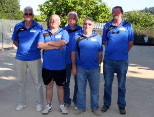 L'équipe du secteur de Lamastre, sous-chmpionne de l'Ardèche : Jacky et François Bathail, Jean-Claude Clauzier, Henri Aunave et Hubert Fraysse