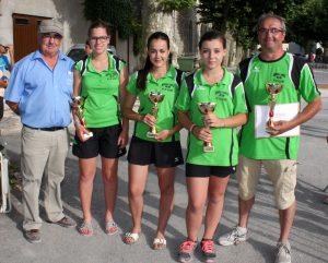 Les championnes de Saint Victor : Olivia Four, Chloé Poinard et Laurie Monneron