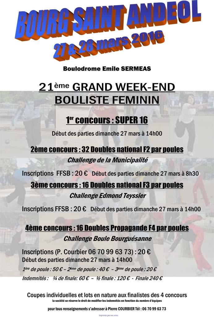 Grand week-end bouliste féminin à Bourg Saint Andéol