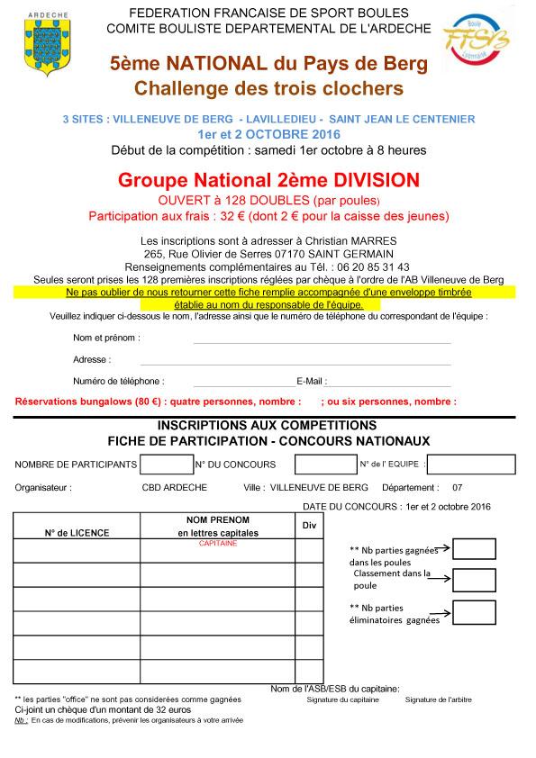Fiches d'inscriptions au National des Trois clochers (canton de Villeneuve de Berg)
