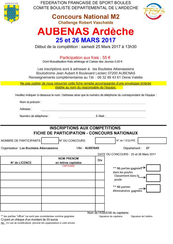 Fiches d'inscriptions au National «  Robert Vaschalde » à Aubenas