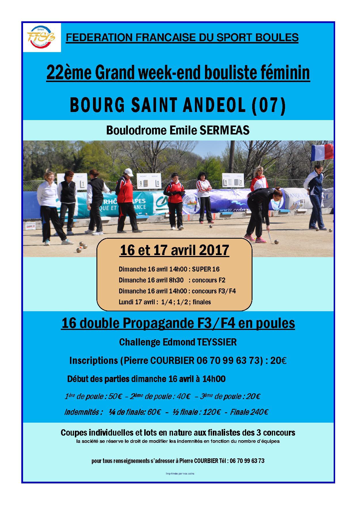 Allez les filles, toutes à Bourg Saint Andéol le 16 et le 17 avril
