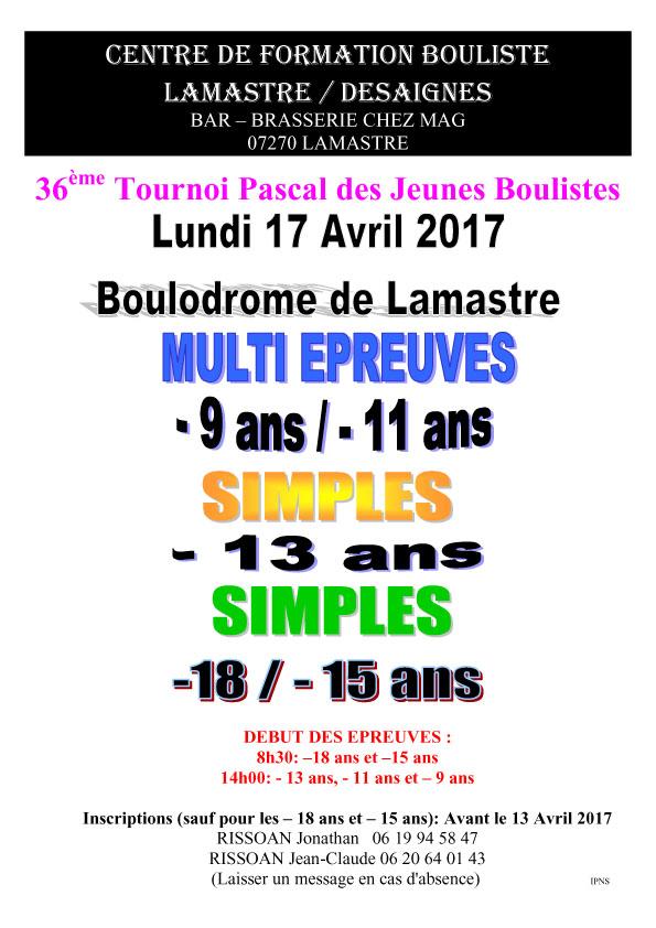 36ème tournoi Pascal des jeunes boulistes à Lamastre