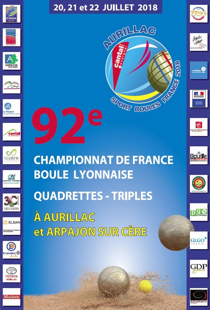 Programme des Championnats de France Quadrettes et Triples