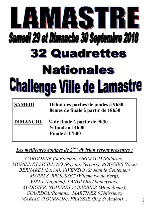Challenge Ville de Lamastre en 32 quadrettes 2ème division