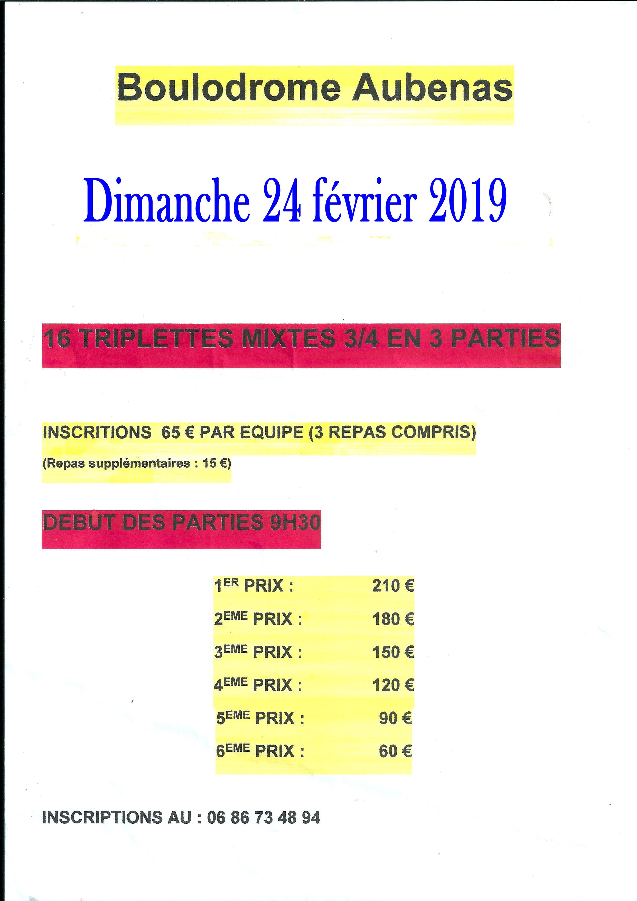 Changement de date du triple mixte d'Aubenas