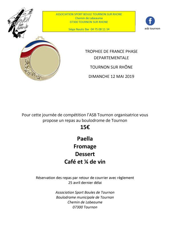 Fédéral Trophée de France, inscriptions et réservations repas