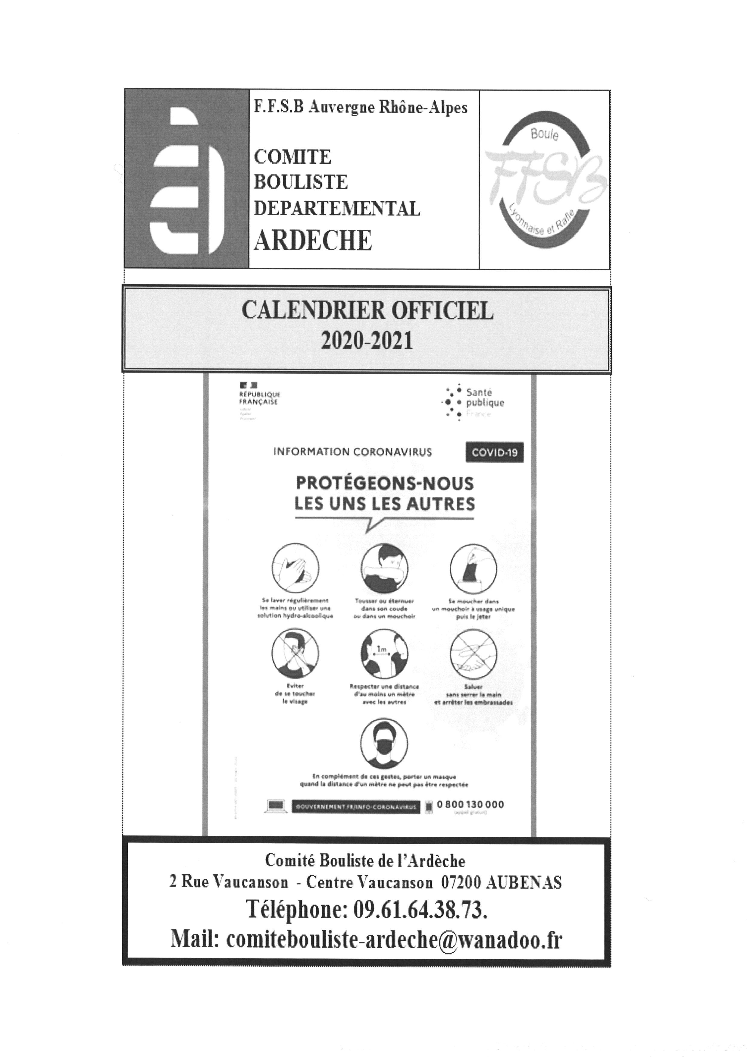 Calendriers départementaux – CBD07