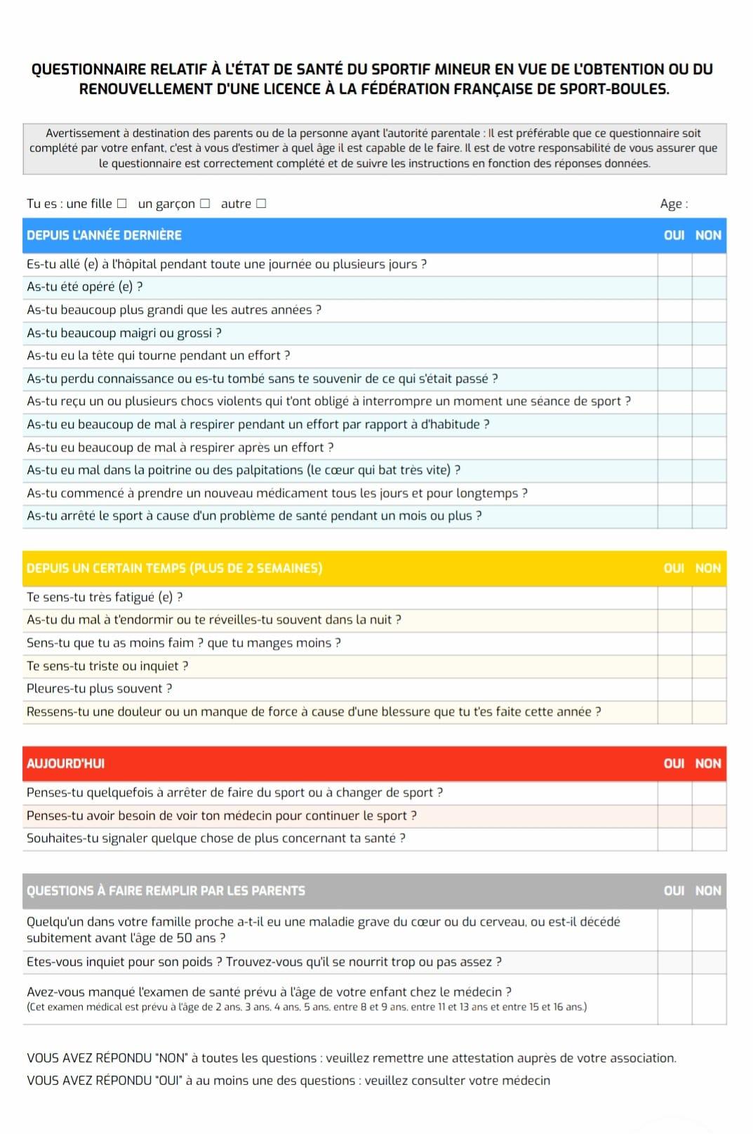 Questionnaire santé FFSB Jeunes