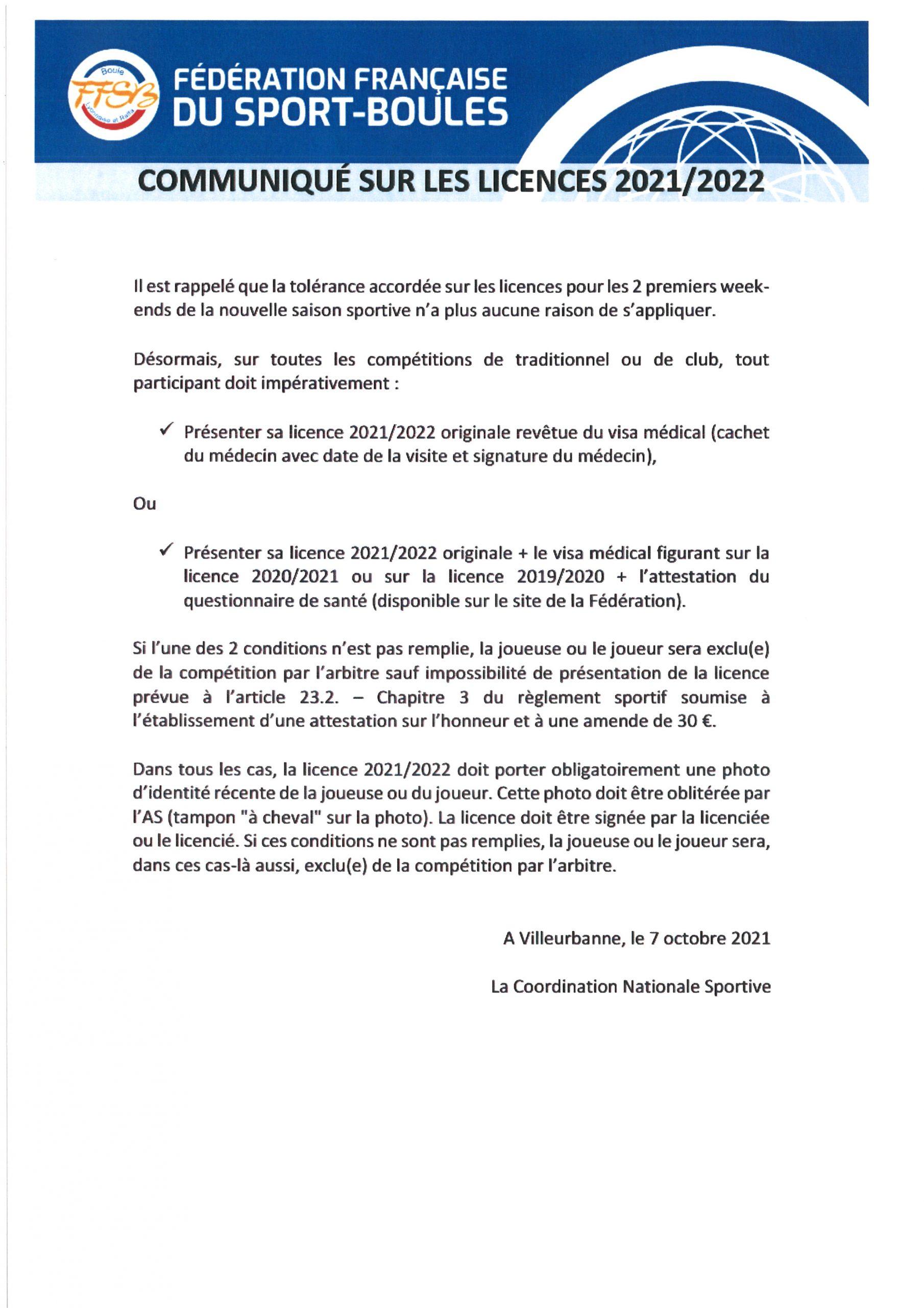 IMPORTANT RAPPEL Communiqué FFSB Licences
